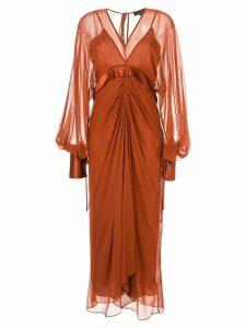 Lee Mathews midaxi shift dress - Brown