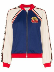 Gucci Cherry patch bomber jacket - Blue