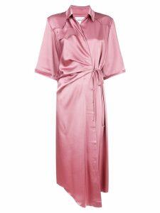 Nanushka wrap midi shirt dress - Pink