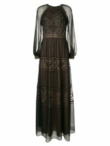 Tadashi Shoji embroidered detail longsleeved dress - Black