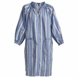 GISY - Blue Stipre Linen Mini Shirt Dress