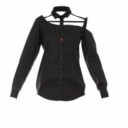 Talented - One Shoulder Button Down Blouse Black