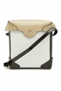 Manu Atelier Mini Pristine Cotton and Leather Shoulder Bag