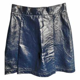 Leather mid-length skirt