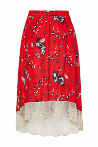Zadig & Voltaire Printed Silk Skirt with Lace