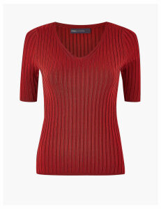 M&S Collection Ribbed V-Neck Short Sleeve Knitted Top