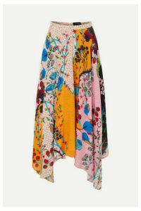 Saloni - Freja Asymmetric Floral-print Silk Crepe De Chine Midi Skirt - Baby pink