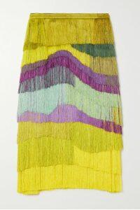 Oscar de la Renta - Intarsia Stretch-knit Dress - Claret