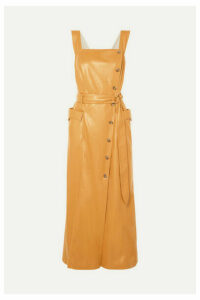 Nanushka - Moun Belted Vegan Leather Wrap-effect Midi Dress - Mustard