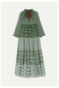 Yvonne S - Hippy Tiered Printed Cotton-voile Maxi Dress - Dark green