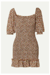 Faithfull The Brand - Es Saada Smocked Ruffled Printed Crepe Mini Dress - Brown