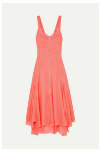 Charo Ruiz - Heart Crocheted Lace-paneled Cotton-blend Voile Dress - Coral