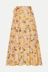 Faithfull The Brand - Asiya Belted Floral-print Crepe Midi Skirt - Yellow