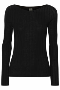 Totême - Toury Ribbed Wool, Silk And Cashmere-blend Top - Black