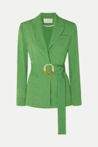 MATÉRIEL - Belted Jacquard Blazer - Green