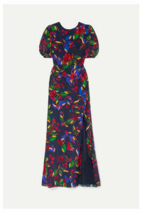 Saloni - Annie Floral-print Silk-satin Maxi Dress - Indigo