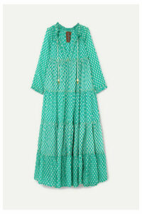 Yvonne S - Hippy Tiered Printed Cotton-voile Maxi Dress - Green