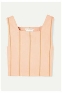 Lucy Folk - Castellations Striped Cropped Cotton-blend Top - Baby pink