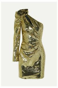 Dundas - One-shoulder Sequined Crepe Mini Dress - Gold