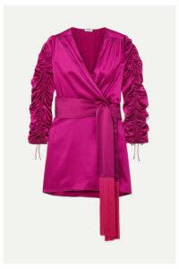 Oséree - Tasseled Stretch-silk Satin Mini Wrap Dress - Fuchsia