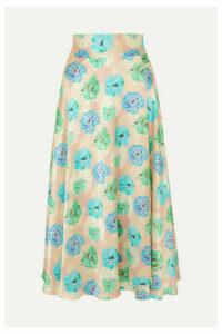 HARMUR - Floral-print Silk-satin Wrap Midi Skirt - Blue