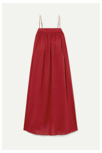 Adam Lippes - Gathered Cotton-voile Midi Dress - Claret