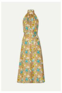 HARMUR - Floral-print Silk-satin Halterneck Midi Dress - Brass