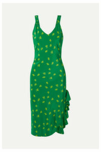Jaline - Carrie Ruffled Floral-print Silk Crepe De Chine Dress - Green