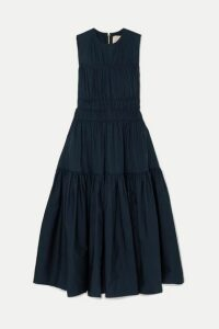 Roksanda - Isilda Gathered Cotton-poplin Midi Dress - Navy
