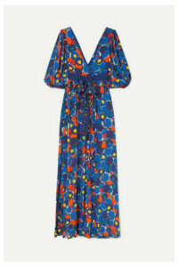 STAUD - Affogato Printed Crepe De Chine Maxi Dress - Purple