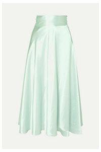 HARMUR - Silk-satin Wrap Midi Skirt - Mint