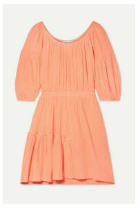APIECE APART - Camellia Crinkled Cotton-gauze Mini Dress - Coral