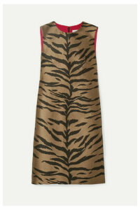 Carolina Herrera - Metallic Tiger-print Jacquard Mini Dress - Tan
