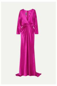 Monique Lhuillier - Wrap-effect Draped Silk-satin Gown - Fuchsia