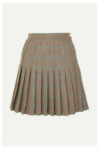 Off-White - Pleated Checked Wool Mini Skirt - Brown