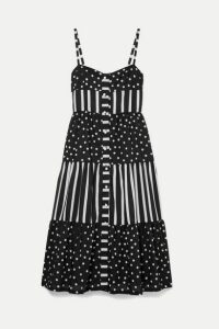 Solid & Striped - Tiered Printed Voile Midi Dress - Black