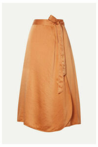 forte forte - Hammered Silk-satin Wrap Skirt - Orange