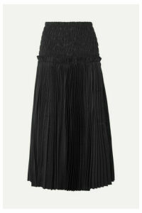 Khaite - Rosa Shirred Pleated Cotton-poplin Midi Skirt - Black