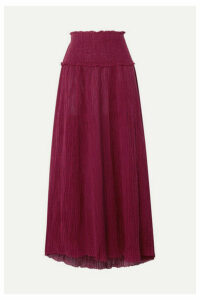 Zimmermann - Suraya Shirred Crinkled Ramie And Cotton-blend Midi Skirt - Burgundy