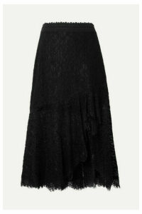 Alice + Olivia - Olimpia Crochet-trimmed Asymmetric Corded Lace Midi Skirt - Black