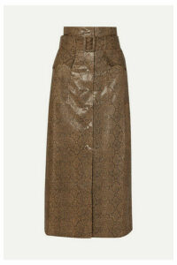 Nanushka - Aarohi Belted Snake-effect Vegan Leather Midi Skirt - Brown