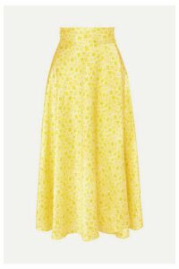HARMUR - Floral-print Silk-satin Wrap Midi Skirt - Pastel yellow