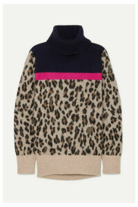Sacai - Leopard-intarsia Knitted Sweater - Beige
