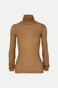 Bottega Veneta - Ribbed Cotton-blend Turtleneck Sweater - Camel