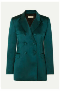 Les Héroïnes by Vanessa Cocchiaro - The Gladys Double-breasted Duchesse-satin Blazer - Teal