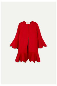 Valentino - Ruffled Wool And Cashmere-blend Coat - Red