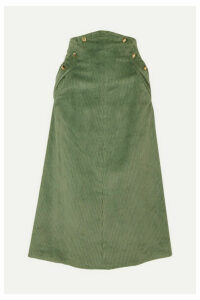 Anna Mason - Ruth Studded Cotton-corduroy Midi Skirt - Green