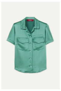 Sies Marjan - Dean Crinkled-satin Shirt - Green