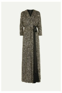 Jenny Packham - Ada Sequined Georgette Wrap Gown - Metallic