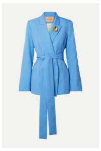 Maggie Marilyn - + Net Sustain Just Getting Started Belted Pinstriped Woven Wrap Blazer - Light blue